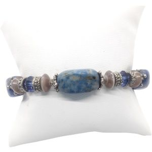 Natural blue stone bracelet with silver accents